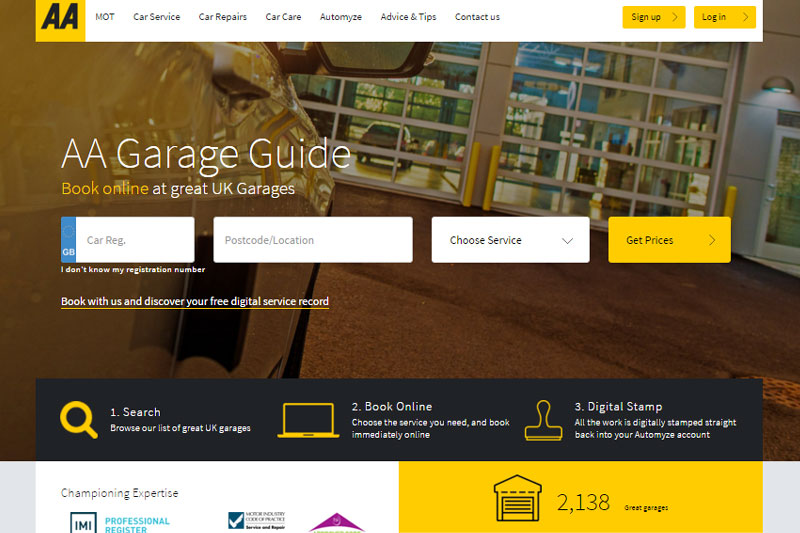 aa launches online search and booking tool professional motor mechanic
