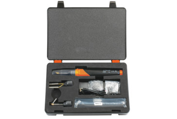 Battery-powered plastic welder repair kit