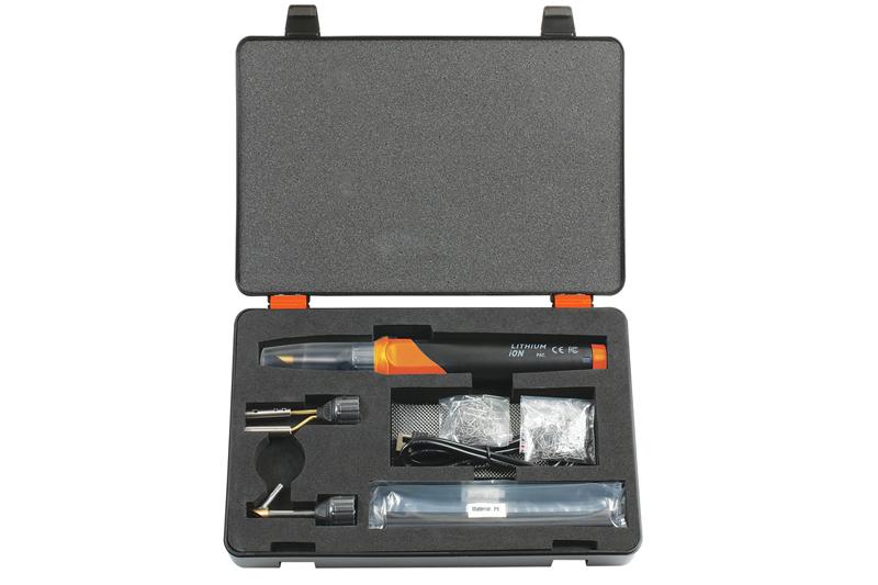 Battery-powered plastic welder repair kit